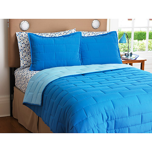 Your Zone Reversible Comforter and Sham Set, Cobalt/Light Blue