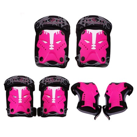- 6Pcs Child Sport Protective Knee Elbow Wrist Body Gear Set for Skating Bicycling Protection - Rosy S