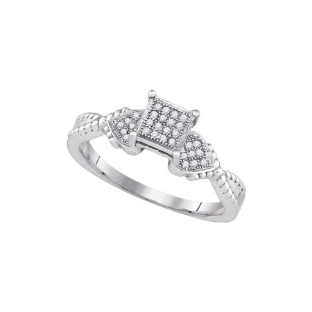 Size - 7 - Solid 925 Sterling Silver Round White Diamond Engagement Ring OR Fashion Band Micro Pave Set Square Shape Solitaire Shaped Heart Ring (1/10 cttw) Diamond Micro Pave Square