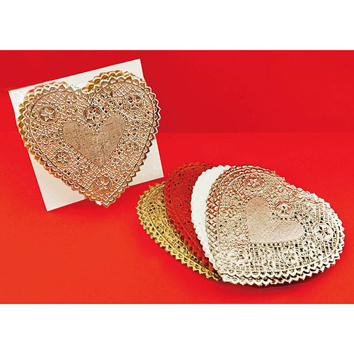 "School Smart Heart Shaped Paper Lace Doilies, 6"", Pack of 100"
