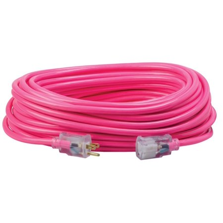 Coleman Cable 12/3 Neon Outdoor Extension Cord, Bright Pink, 100-Feet (Non Extension)
