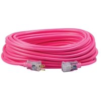 Coleman Cable 12/3 Neon Outdoor Extension Cord, Bright Pink, 100-Feet