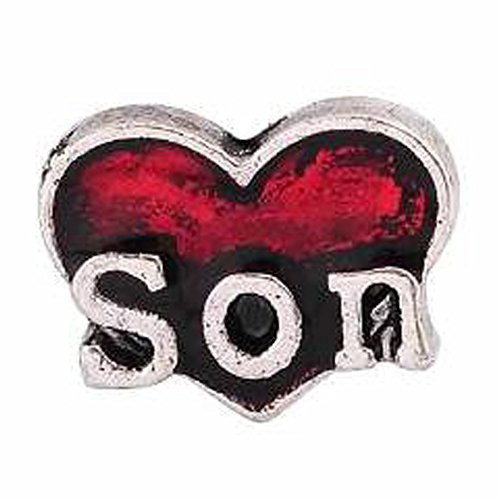 "Round Locket Crystal Necklace Base and Floating Family Charms (""Son"")"