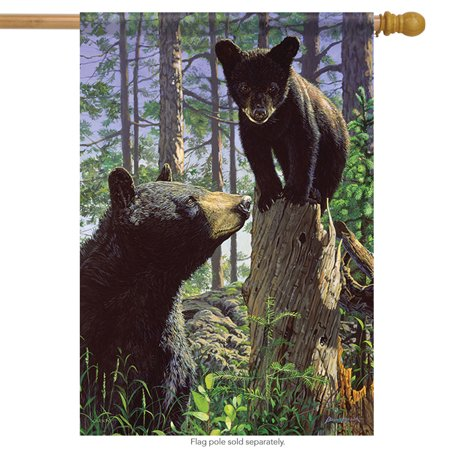 Stump Jumper Bear House Flag Wildlife Cub Yard Banner Double Sided 28