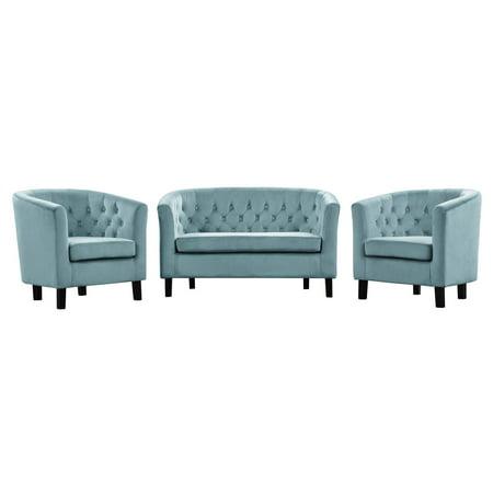 Modern Contemporary Urban Design Living Room Lounge Club Lobby Armchair and Loveseat Sofa Set, Velvet Fabric, Blue ()