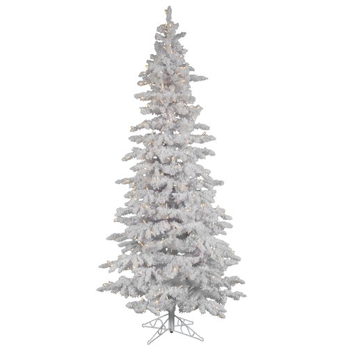 The Holiday Aisle 12' Flocked White Spruce Christmas Tree with 1000 LED Warm White Lights with Stand