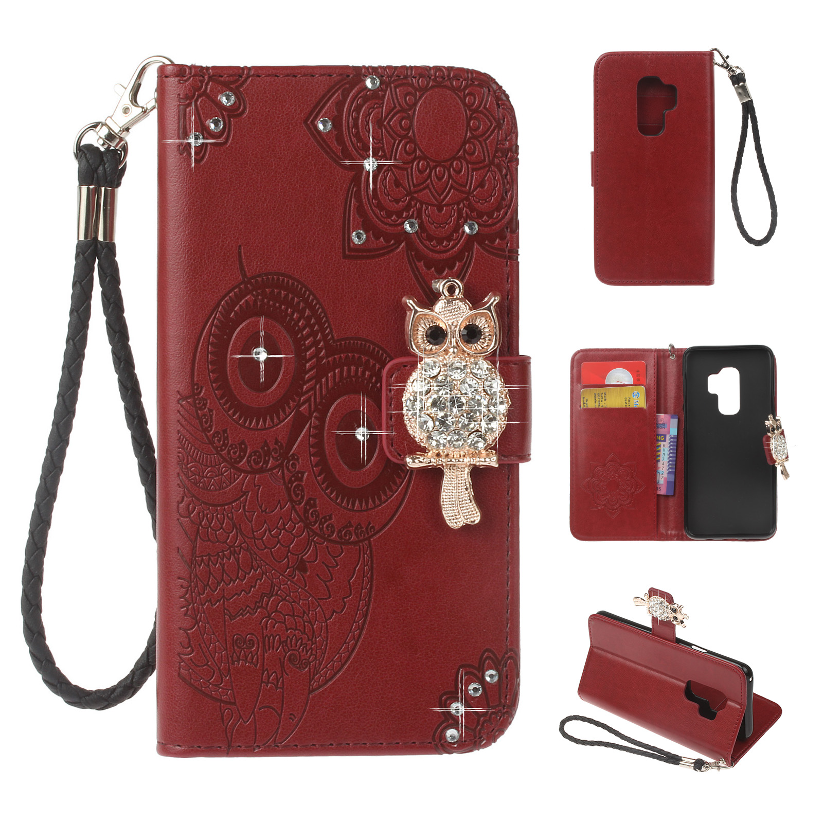 Galaxy S9 Case, Allytech Premium Leather Glitter Owl Kickstand Folio Hand Strap Women Girls Magnetic Closure Shockproof Cards Holder Wallet Case Cover for Samsung Galaxy S9, Winered