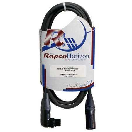 RapcoHorizon Concert Series M5 Microphone Cable w/Right Angle Female XLR (10 ft) Rapcohorizon M1 Microphone Cable