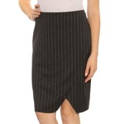 DKNY Womens Gray Zippered Striped Pin Knee Length Pencil Wear To Work Skirt  Size: 10