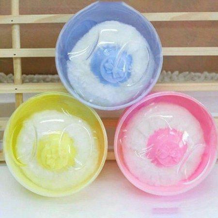 KABOER Newborn baby Bath Talcum Powder Puff Sponge Container Box Cosmetic (Best Way To Sponge Bathe A Newborn)