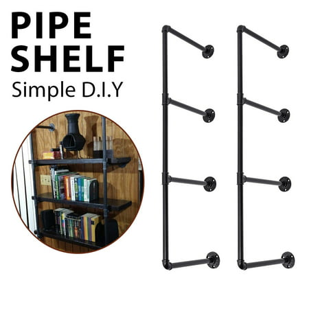 KINGSO Industrial Wall-Mounted Iron Pipe Bracket Bookshelf Frame, Customizable DIY Shelving, Floating Open Display Storage for Home, Office, Commercial Use