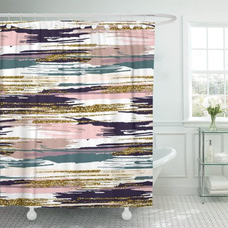 PKNMT Brush Strokes and Stripes Hand Black Gold Pink Green Polyester Shower Curtain 60x72 inches ()