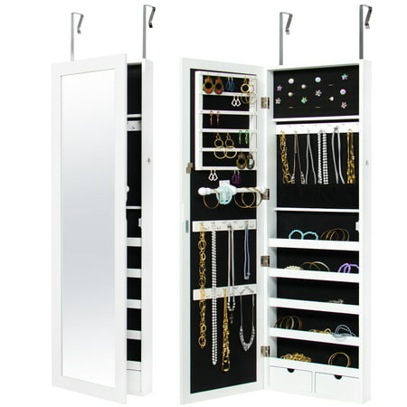 Best Choice Products Mirrored Hanging Jewelry Cabinet Armoire Organizer Over Door Wall Mount W/ Keys- White ()