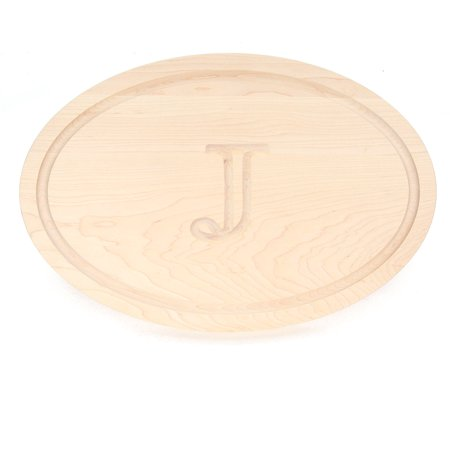 Trencher Board (BigWood Boards 420-J Carving Board, Oval Trencher with Juice Well, Large Monogrammed Cutting Board with Groove, Maple Wood Serving Tray,)