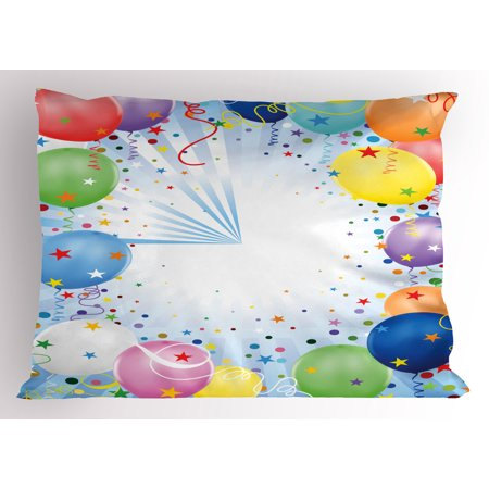 Kids Party Pillow Sham Happy Celebration Event Theme with Colorful Flying Balloons Confetti and Stars, Decorative Standard Size Printed Pillowcase, 26 X 20 Inches, Multicolor, by Ambesonne - Balloons With Confetti