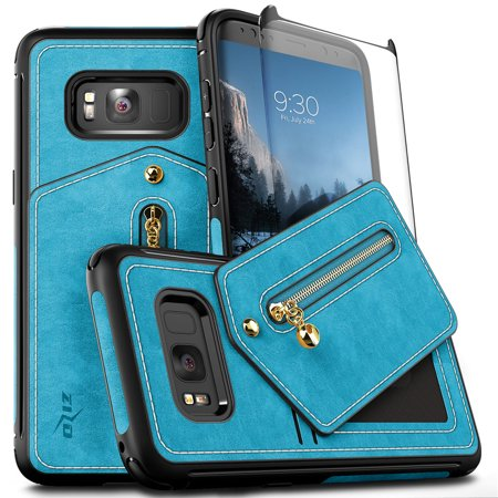 Samsung Galaxy S8 / S8 Plus Case, Zizo Nebula Cover Wallet w/ Screen Protector (Samsung Galaxy Note 4 Wallet Case)