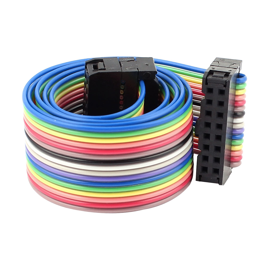 2.54mm Pitch 16Pin 16 Way F/F Connector IDC Flat Rainbow Ribbon Cable 48cm 1.6ft