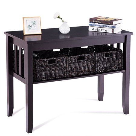 Costway Wooden Rectangle Side Storage Table Home Office Furni Decor W/3 Baskets Espresso ()