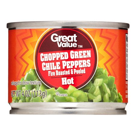 ((4 Pack) Great Value Chopped Diced Green Chiles Fire Roasted And Peeled, Hot, 4 Oz)