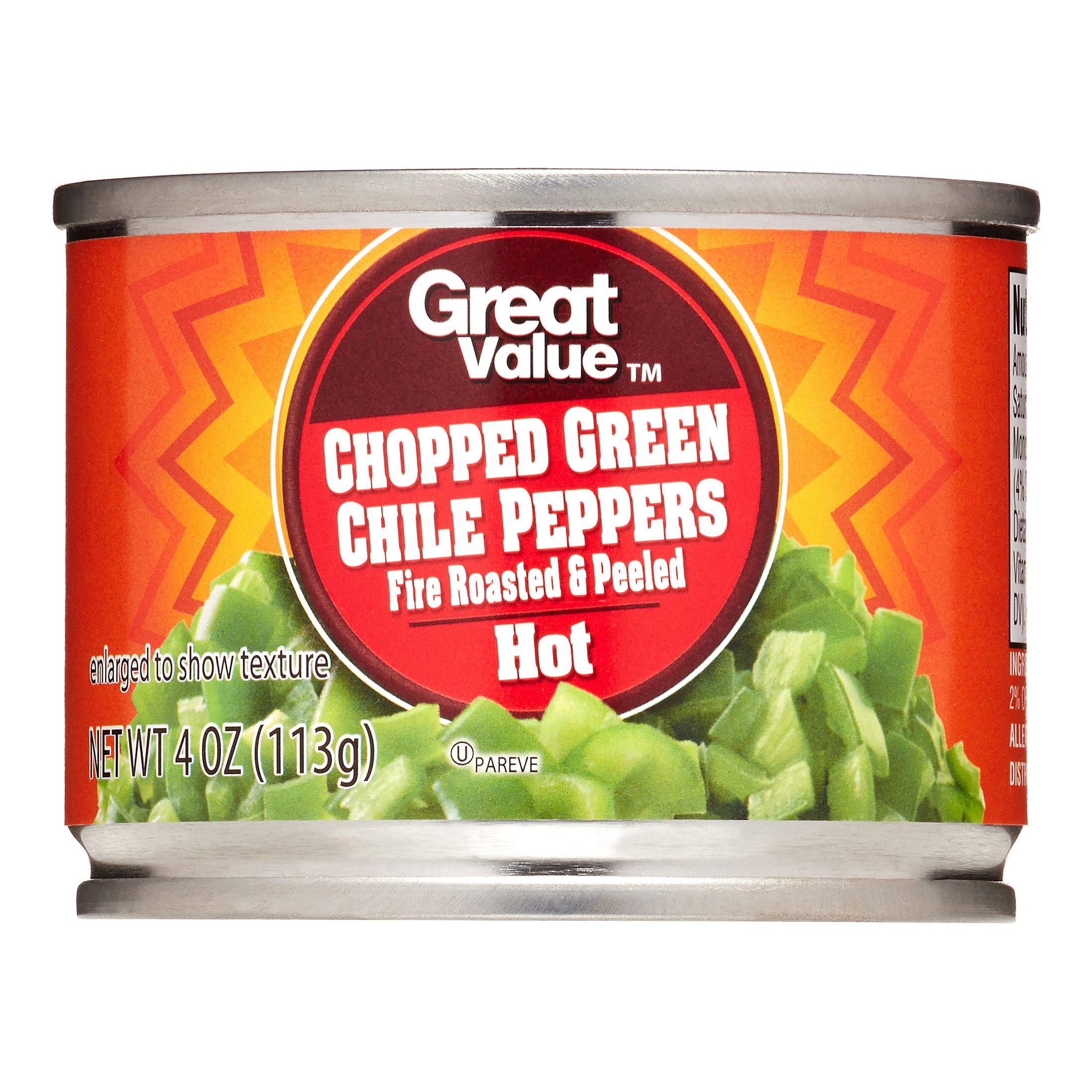 Great Value Chopped Diced Green Chiles, Fire Roasted and Peeled, Hot, 4 oz