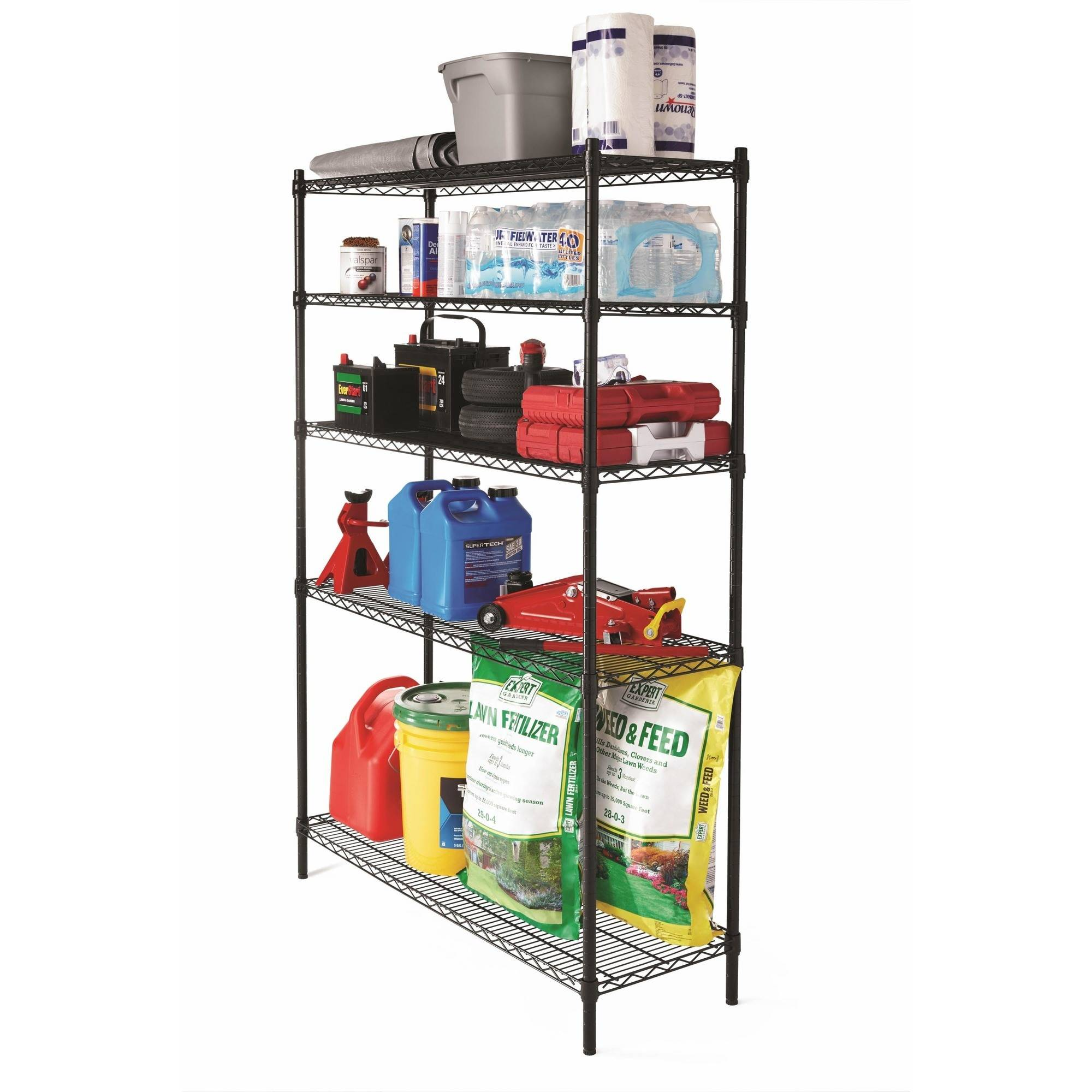 "Hyper Tough 5 Shelf Heavy Duty Wire Shelving Storage Rack, Black, 16""Dx48""Wx72""H"