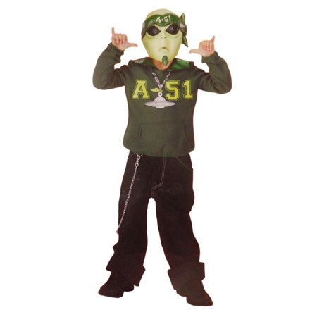 Boys Martian Cool Space Alien Halloween Costume Mask, Top & Medallion  - Size - Medium (6-8) - Cool Halloween Horderves