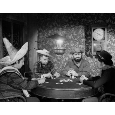 Cowboys playing poker in a casino Poster Print - Casino Cowboy Scene