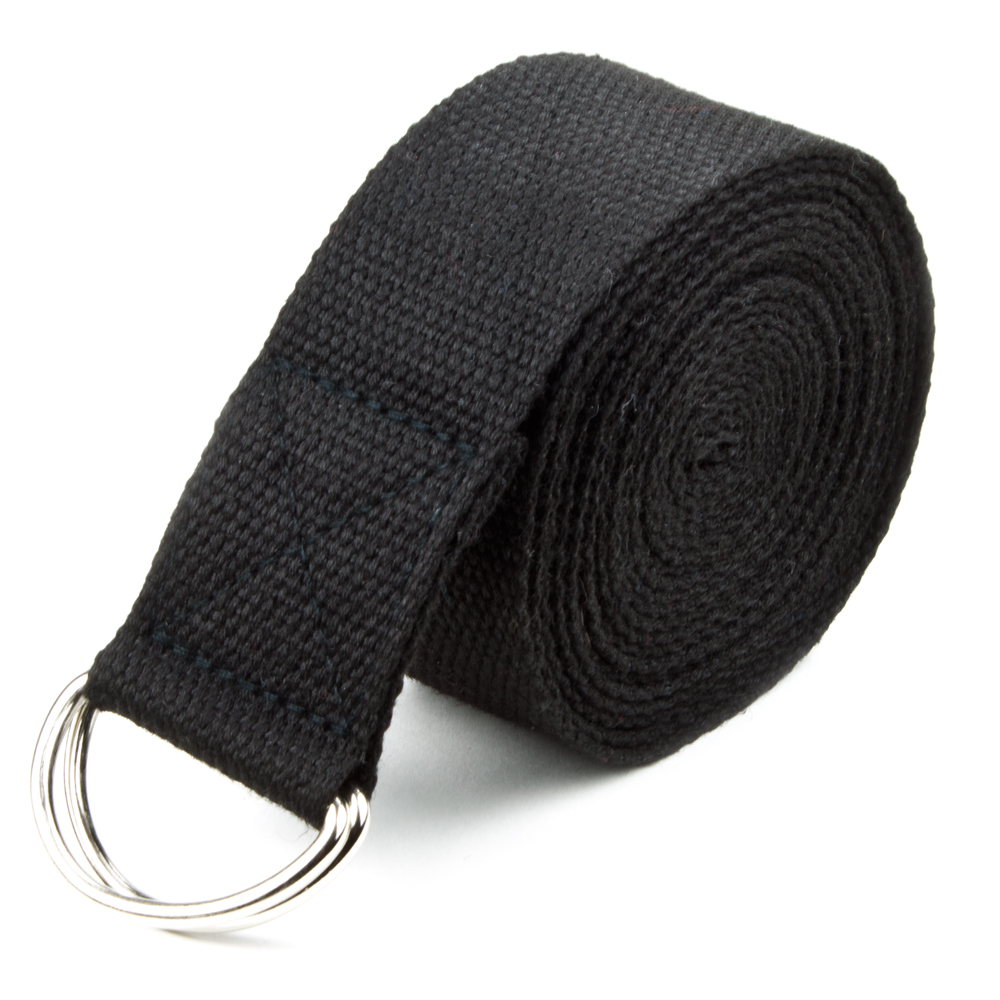 Black 10' Extra-Long Cotton Yoga Strap with Metal D-Ring