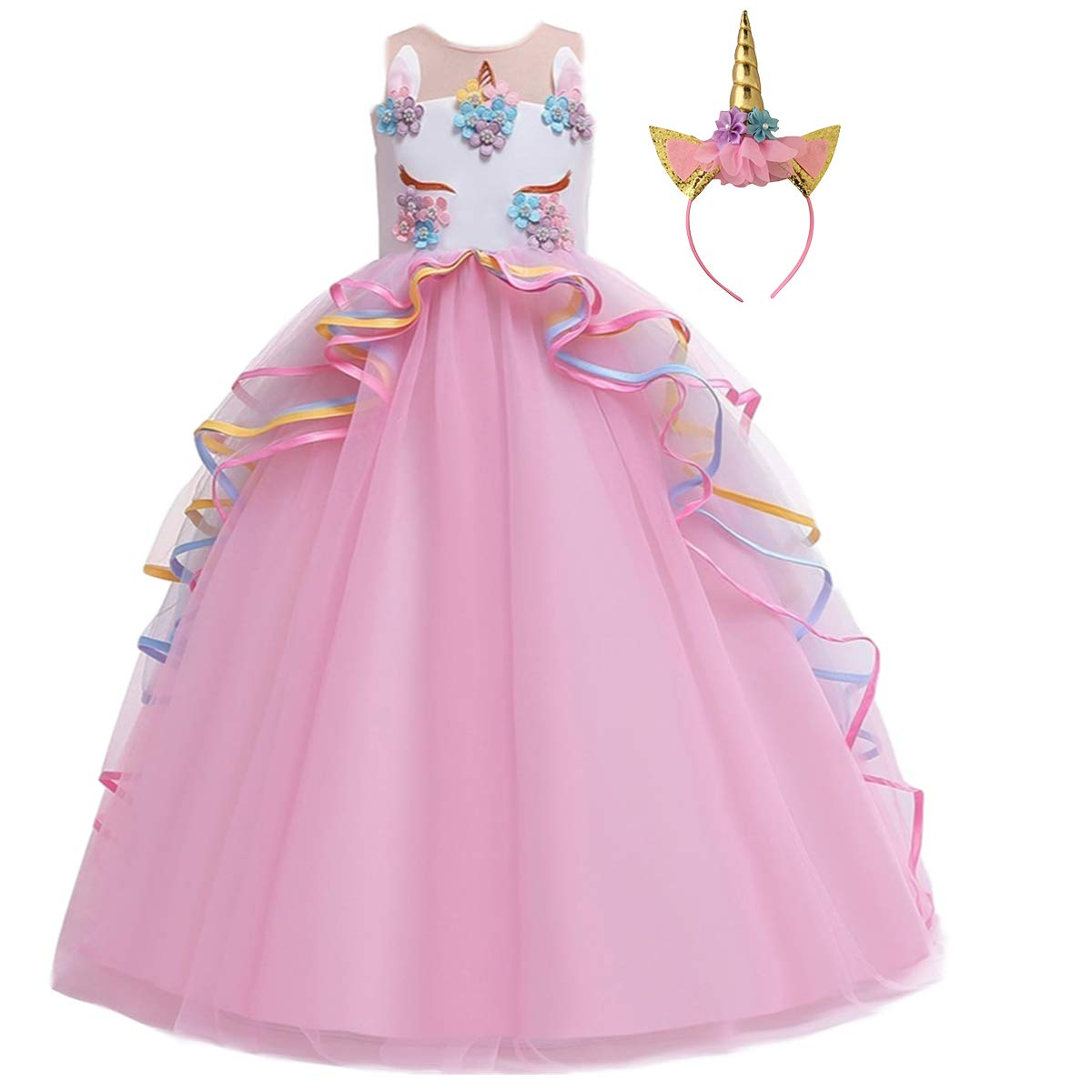 Girls Precious Pink Princess Fancy Dress Costume Kids Carnival Party Outfit