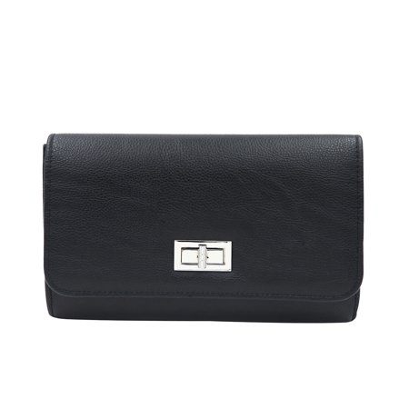 Metallic Leather Flap Clutch - Premium Solid Color PU Leather Turnlock Flap Clutch Bag Handbag