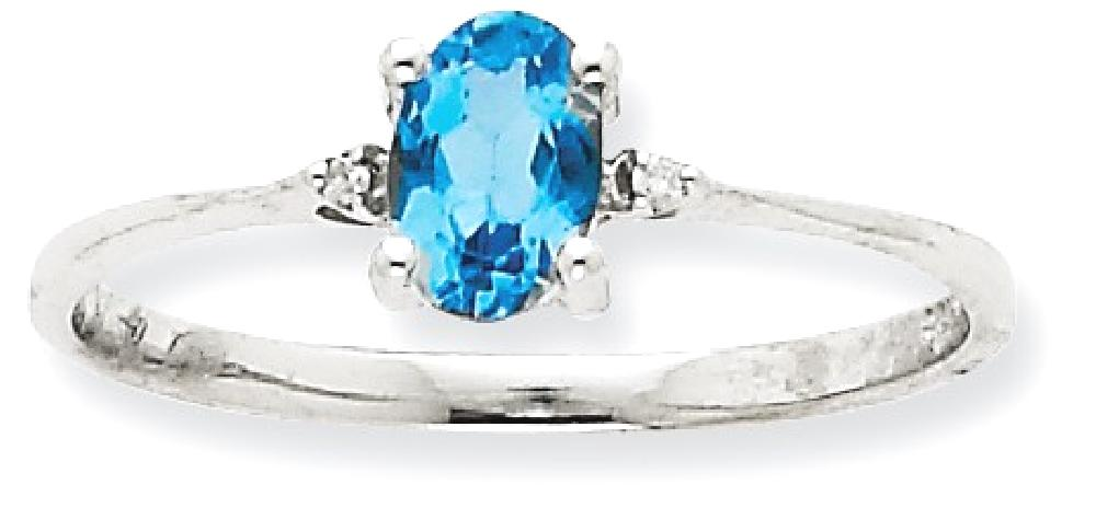 ICE CARATS ICE CARATS 10kt White Gold Diamond blue Topaz Birthstone Band Ring Size 6.00 Stone December Oval Style Fine... by IceCarats