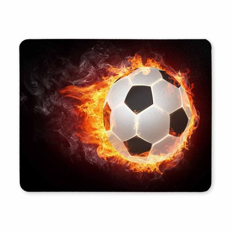 POP Soccer Ball in Flames of Fire Rectangle Non-Slip Rubber Mouse Pad 9x10 inch - image 2 of 2