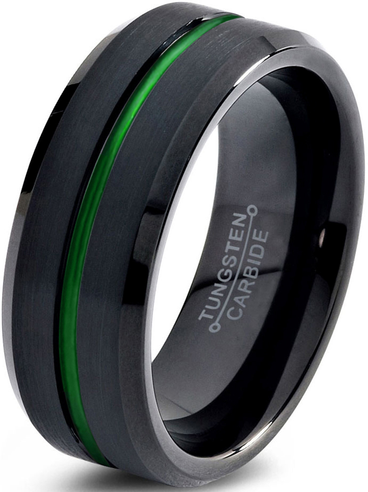 Tungsten Wedding Band Ring 8mm for Men Women Green Black Beveled Edge Brushed Polished Center Line Lifetime Guarantee by Charming Jewelers