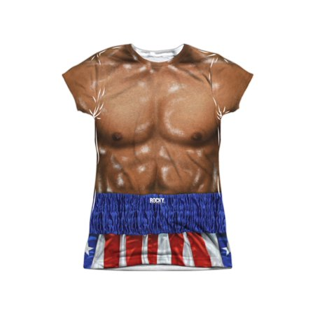 Rocky Apollo Creed Muscle Torso Costume Juniors Front/Back Print T-Shirt
