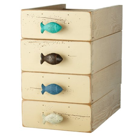 Fish drawer pulls cabinet knobs set of 4 painted and for Fish cabinet knobs