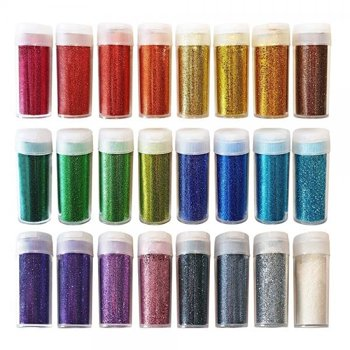 24-Pack Original Stationery Glitter Shake Jars