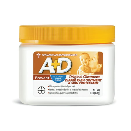 A+D Original Diaper Rash Ointment, Skin Protectant, 1 Pound Jar
