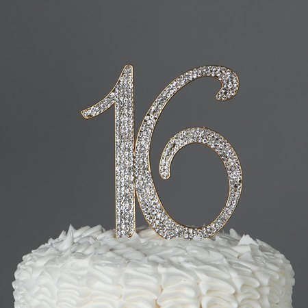 16 Cake Topper 16th Birthday Party Supplies Sweet Rhinestone Decoration Gold