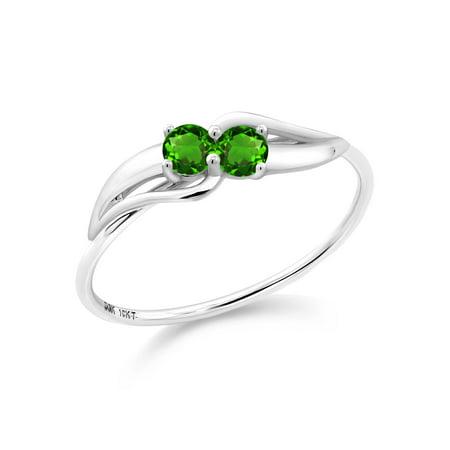 0.28 Ct Round Green Simulated Tsavorite 10K White Gold Ring