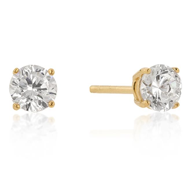Kate Bissett E01736GS-S01-5MM 5mm New Sterling Round Cut CZ Studs Gold