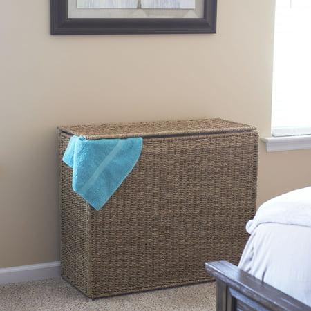 Household Essentials Seagrass 3 Bag Sorter Hamper, Natural ()