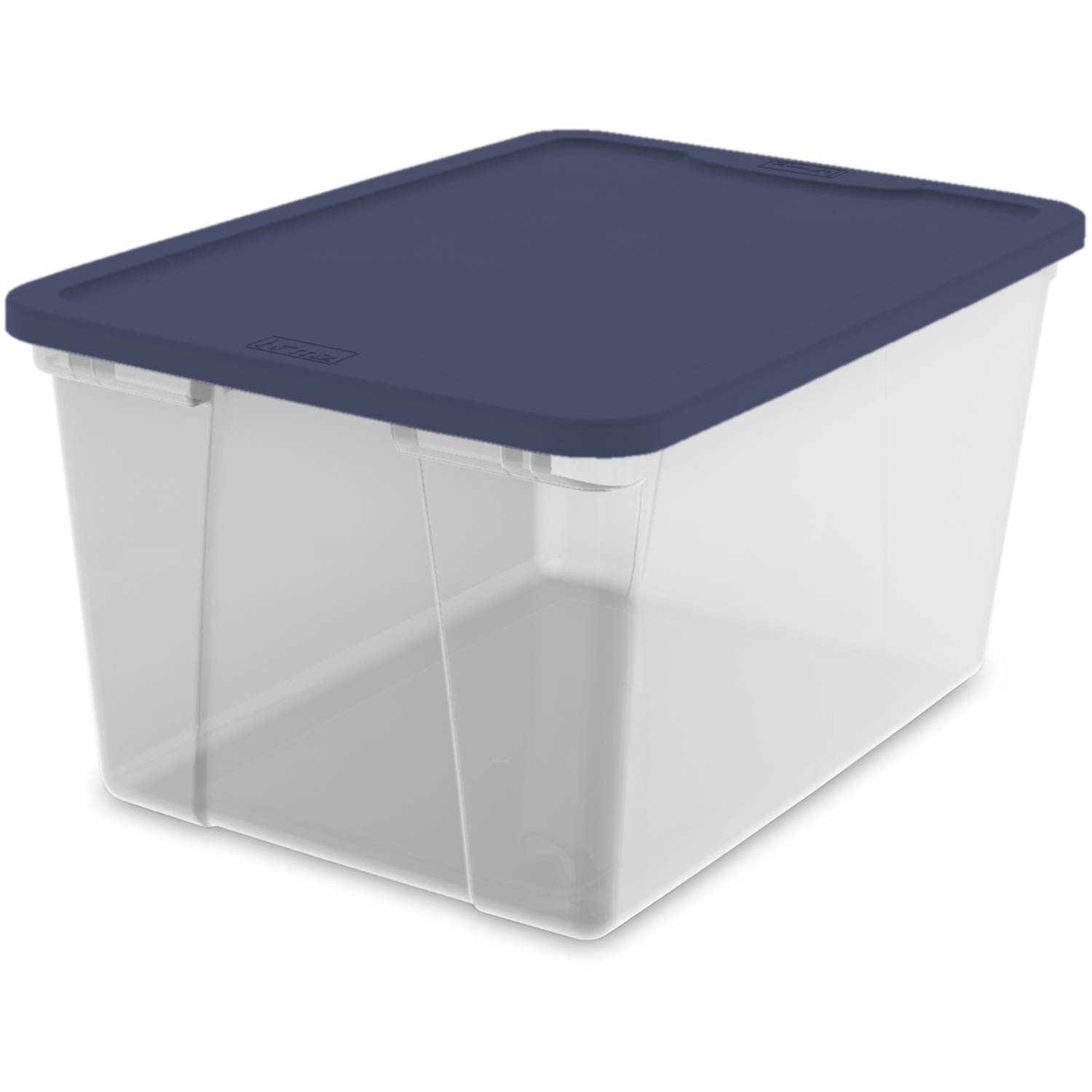 Homz 56 Qt Clear Storage with Cobalt Blue Lid, Set of 8