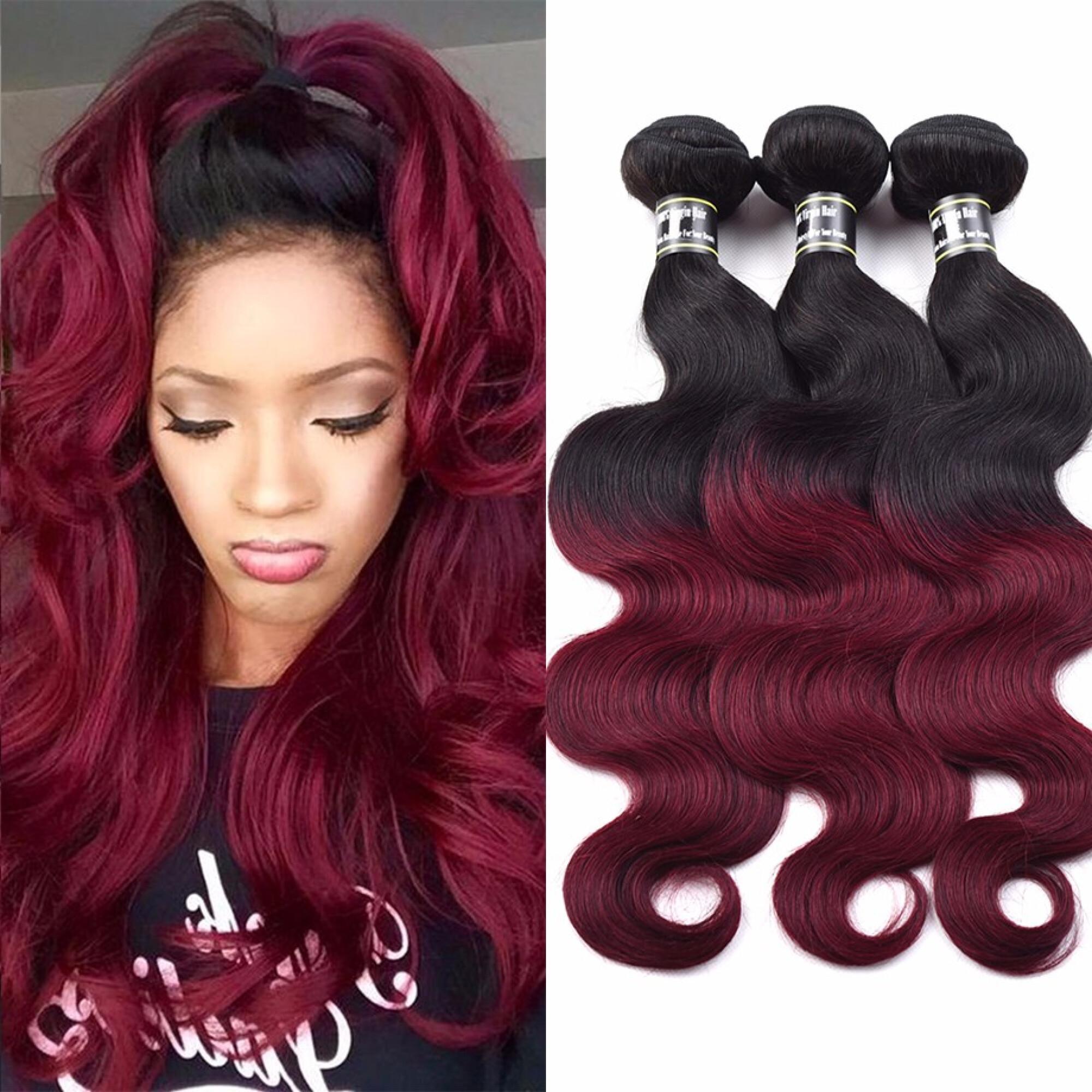"Amazing Star Brazilian Body Wave Ombre Hair Bundles Burgundy/1B Human Hair Weave, 20""22""24"""