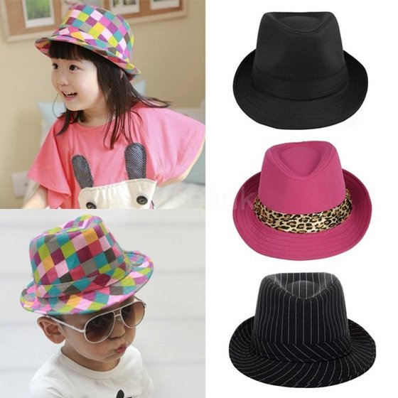 17438d9980e New Fashion Boy Girl Jazz Hat Topper Cool Fedora Curly Brim Baby ...