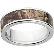 AP Men's Camo 7mm Stainless Steel Wedding Band with Polished Edges and Deluxe Comfort Fit