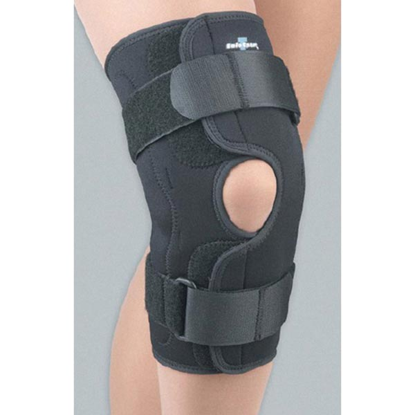 Unisex Adult Wraparound Hinged Knee Brace in Stay-Put Adjustable Neoprene with Side Stays