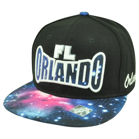 Orlando Florida Galactic Sublimated Galaxy Flat Bill Snapback Black Hat Cap - Party City In Orlando Fl