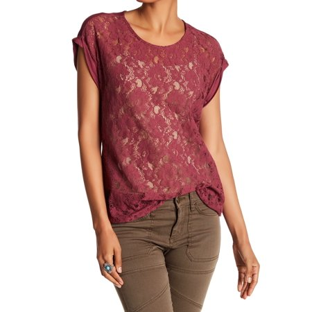 - DR2 Mulberry Women's Small Floral-Lace Knit Top