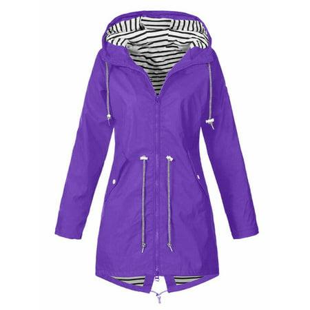 lisenraIn Women's Long Sleeve Hooded Wind Jacket Outdoor Waterproof Rain Coat Zip Wind Rain Jacket