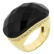 Icon Bijoux R08092G-C52-09 Black And Gold Cocktail Ring (Size: 09)